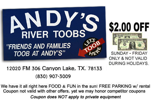 Andy's River Toobs - Rental Coupon